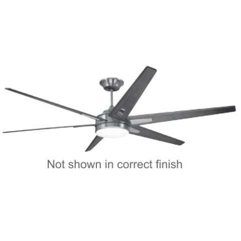 Emerson Rah ECO (DC Motor) Ceiling Fan Model CF915W72BS in Brushed Steel with Walnut blades.