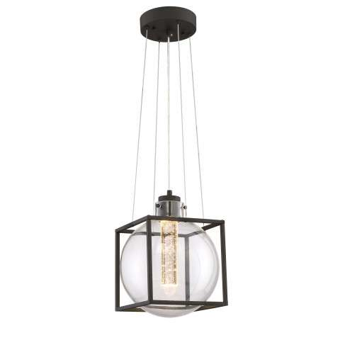 Aloft LED Pendant in Black with Clear Glass/Seedy Crystal Shade