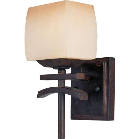 Maxim 10996WSRC Asiana 1-Light Wall Sconce in Roasted Chestnut with Wilshire glass.