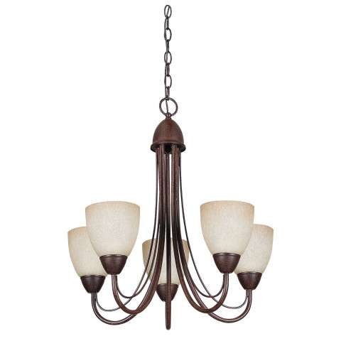 Sunset Lighting F2685-62 22-3/4 inch 5-light Tempest Chandelier in Rubbed Bronze Finish