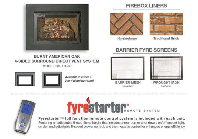 Who Makes The Best Direct Vent Gas Fireplace Insert: D1-30 Real Fyre Direct Vent Fireplace Insert by R. H. Peterson